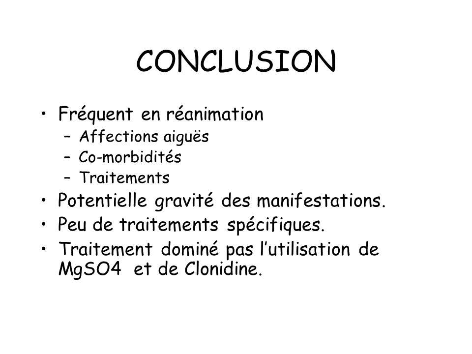 CONCLUSION Fréquent en réanimation –Affections aiguës –Co-morbidités –Traitements Potentielle gravité des manifestations.