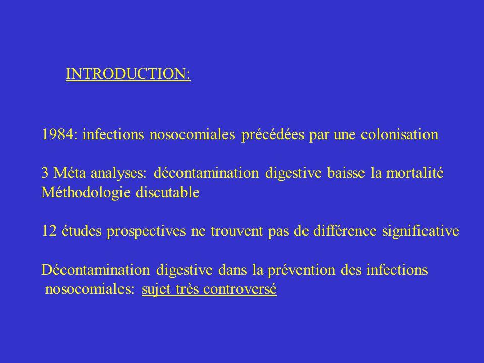 DISCUSSION Sur les résultats: différence de mortalité plus importante que dans la littérature Amico BMJ 1998 316:1275_85 car unités séparées donc moins de contaminations croisées traitement plus complet Moins de résistance aux antibiotiques, que prévu.
