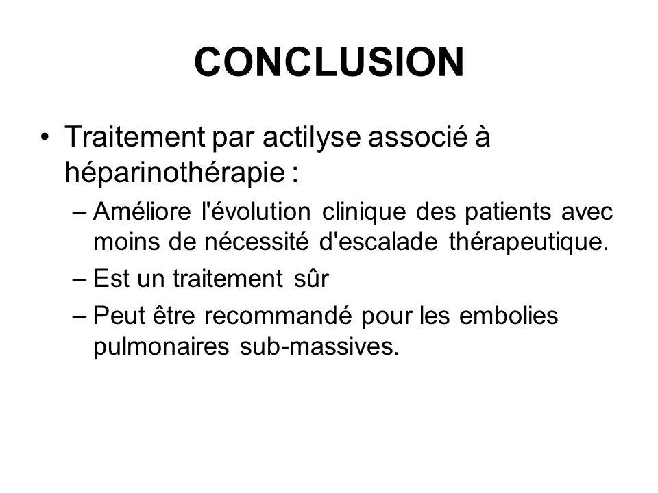 CONCLUSION Traitement par actilyse associé à héparinothérapie : –Améliore l évolution clinique des patients avec moins de nécessité d escalade thérapeutique.