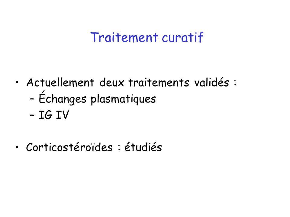 Traitement curatif Actuellement deux traitements validés : –Échanges plasmatiques –IG IV Corticostéroïdes : étudiés
