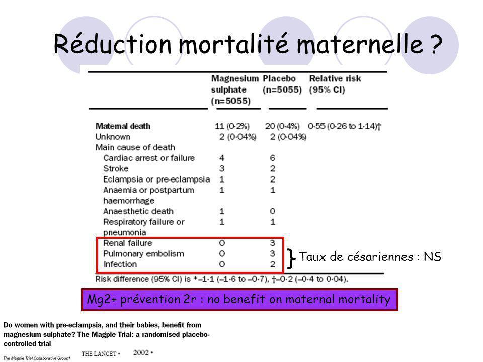 Réduction mortalité maternelle .