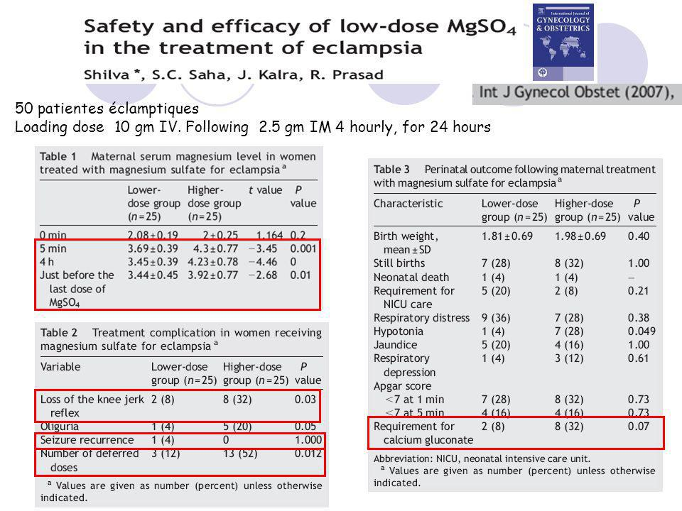 50 patientes éclamptiques Loading dose 10 gm IV. Following 2.5 gm IM 4 hourly, for 24 hours