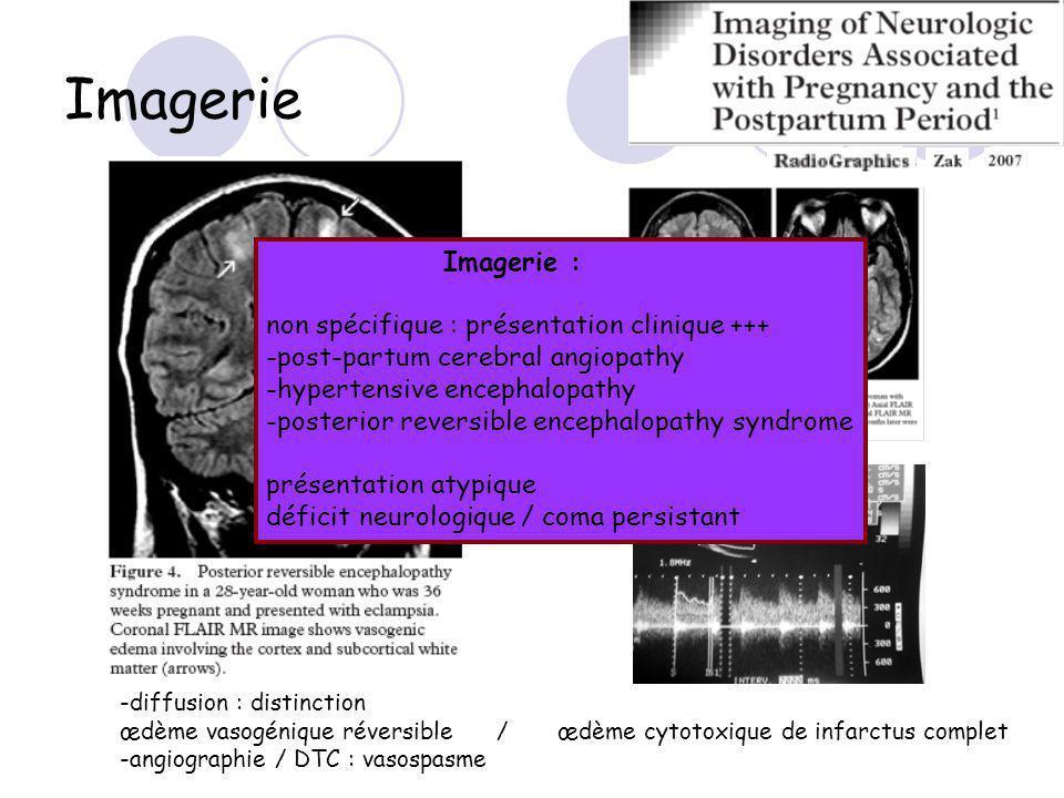 -diffusion : distinction œdème vasogénique réversible / œdème cytotoxique de infarctus complet -angiographie / DTC : vasospasme Imagerie : non spécifique : présentation clinique +++ -post-partum cerebral angiopathy -hypertensive encephalopathy -posterior reversible encephalopathy syndrome présentation atypique déficit neurologique / coma persistant