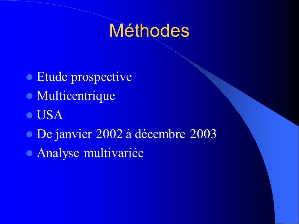 Méthodes Etude prospective Multicentrique USA De janvier 2002 à décembre 2003 Analyse multivariée