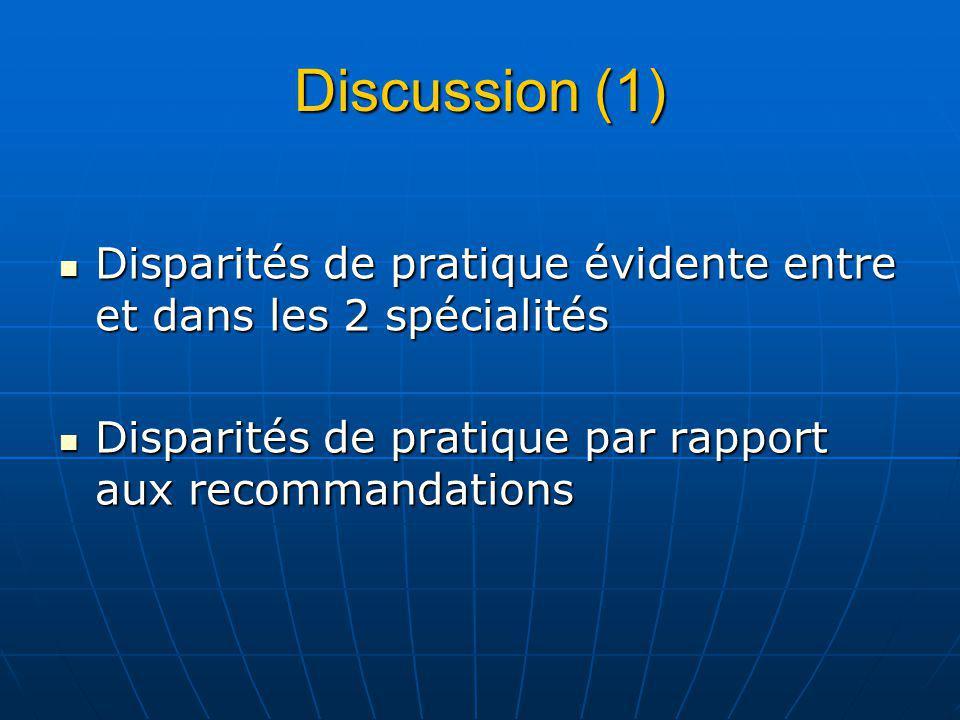 Discussion (1) Disparités de pratique évidente entre et dans les 2 spécialités Disparités de pratique évidente entre et dans les 2 spécialités Disparités de pratique par rapport aux recommandations Disparités de pratique par rapport aux recommandations