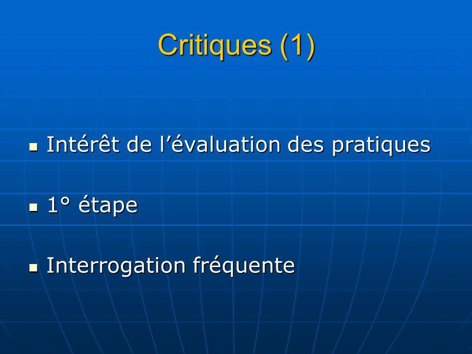 Critiques (1) Intérêt de lévaluation des pratiques Intérêt de lévaluation des pratiques 1° étape 1° étape Interrogation fréquente Interrogation fréquente
