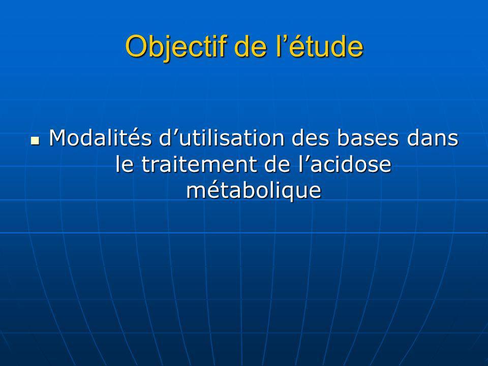 Objectif de létude Modalités dutilisation des bases dans le traitement de lacidose métabolique Modalités dutilisation des bases dans le traitement de lacidose métabolique