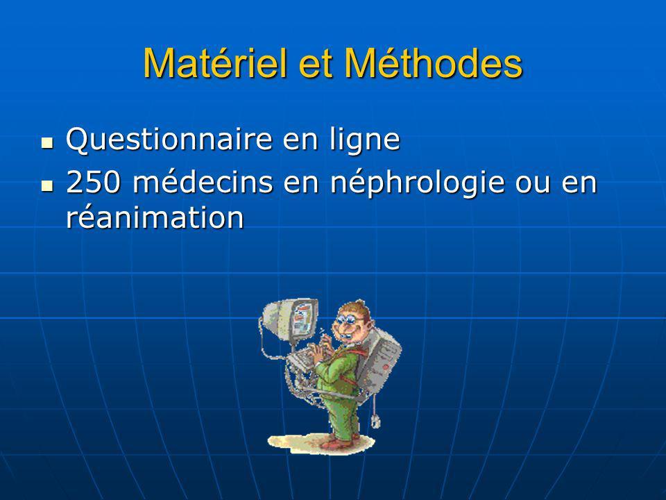 Matériel et Méthodes Questionnaire en ligne Questionnaire en ligne 250 médecins en néphrologie ou en réanimation 250 médecins en néphrologie ou en réanimation