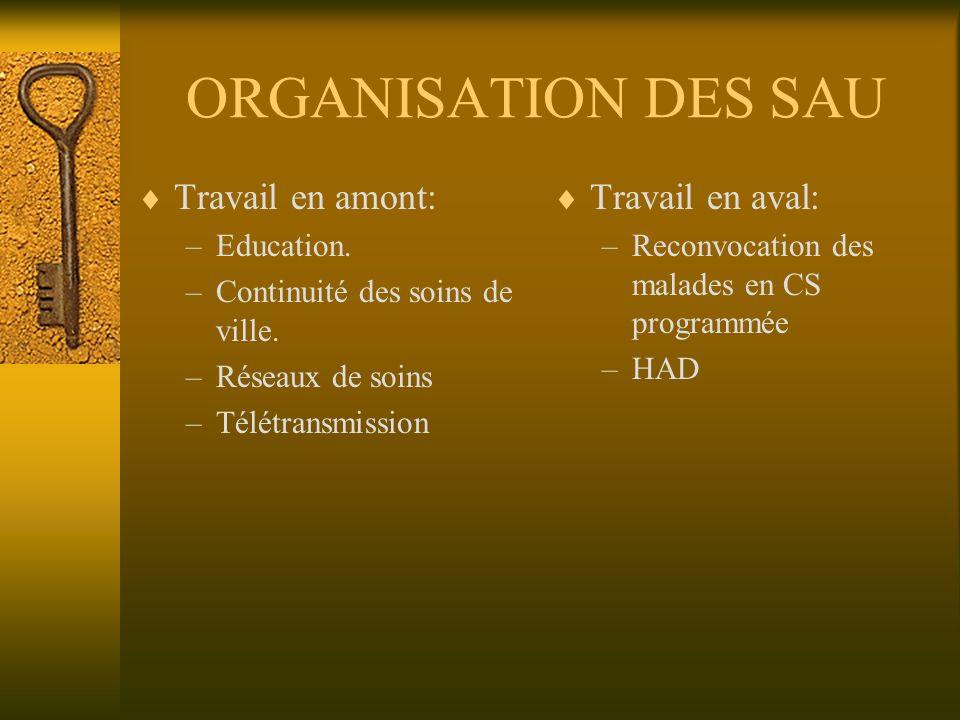 ORGANISATION DES SAU Travail en amont: –Education. –Continuité des soins de ville. –Réseaux de soins –Télétransmission Travail en aval: –Reconvocation