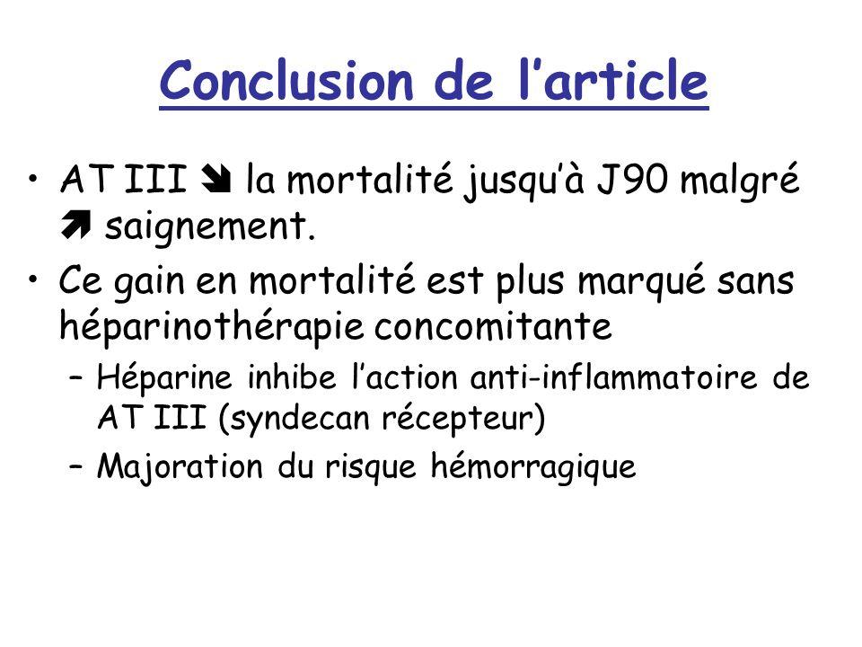 Conclusion de larticle AT III la mortalité jusquà J90 malgré saignement. Ce gain en mortalité est plus marqué sans héparinothérapie concomitante –Hépa