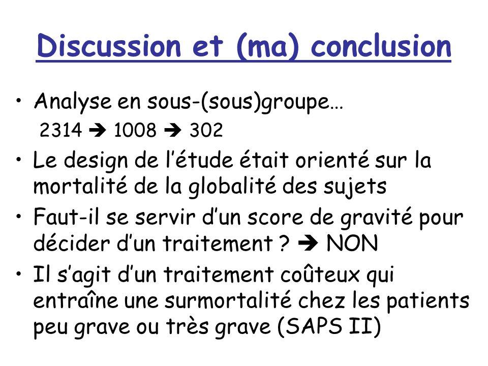 Discussion et (ma) conclusion Analyse en sous-(sous)groupe… 2314 1008 302 Le design de létude était orienté sur la mortalité de la globalité des sujets Faut-il se servir dun score de gravité pour décider dun traitement .