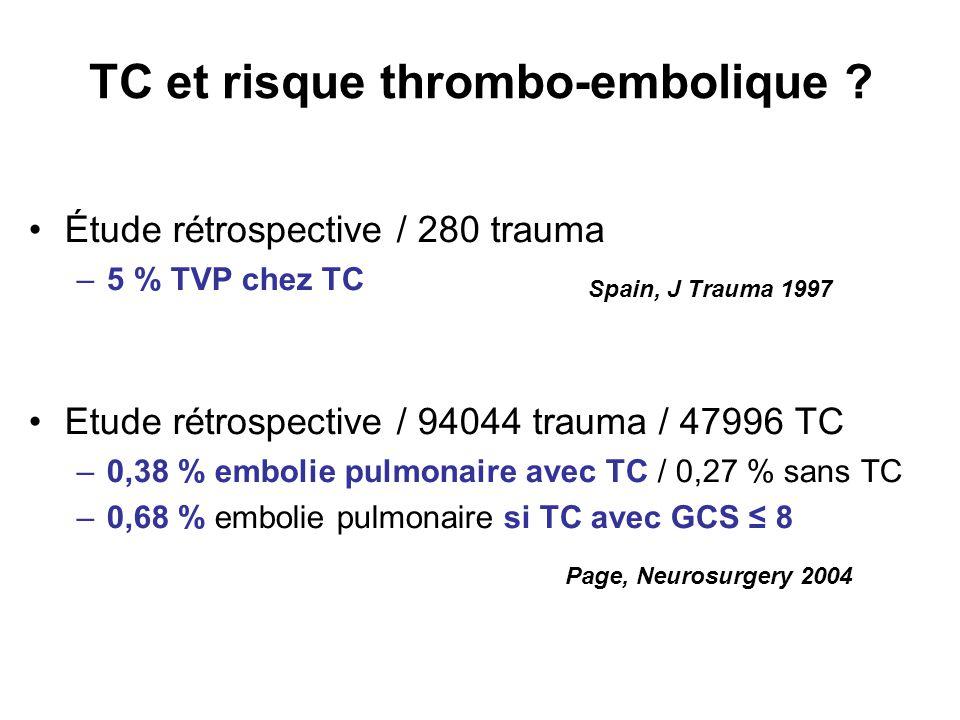 TC et risque thrombo-embolique ? Étude rétrospective / 280 trauma –5 % TVP chez TC Etude rétrospective / 94044 trauma / 47996 TC –0,38 % embolie pulmo