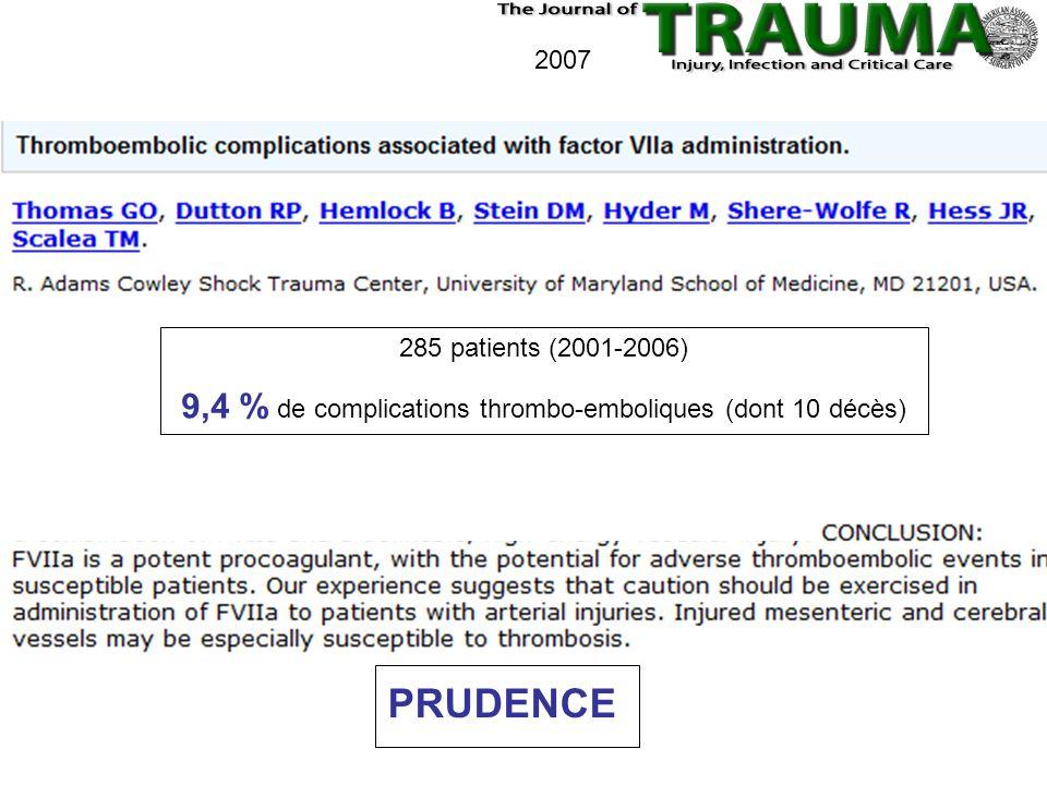 2007 PRUDENCE 285 patients (2001-2006) 9,4 % de complications thrombo-emboliques (dont 10 décès)