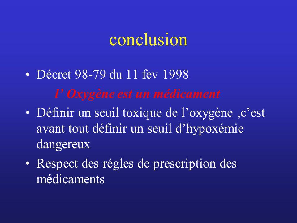 conclusion Décret 98-79 du 11 fev 1998 l Oxygène est un médicament Définir un seuil toxique de loxygène,cest avant tout définir un seuil dhypoxémie da