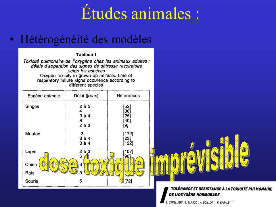 Études animales : Hétérogénéité des modèles