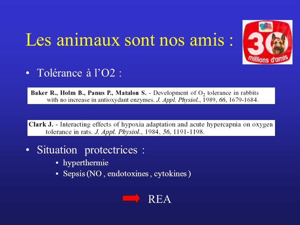 Les animaux sont nos amis : Tolérance à lO2 : Situation protectrices : hyperthermie Sepsis (NO, endotoxines, cytokines ) REA