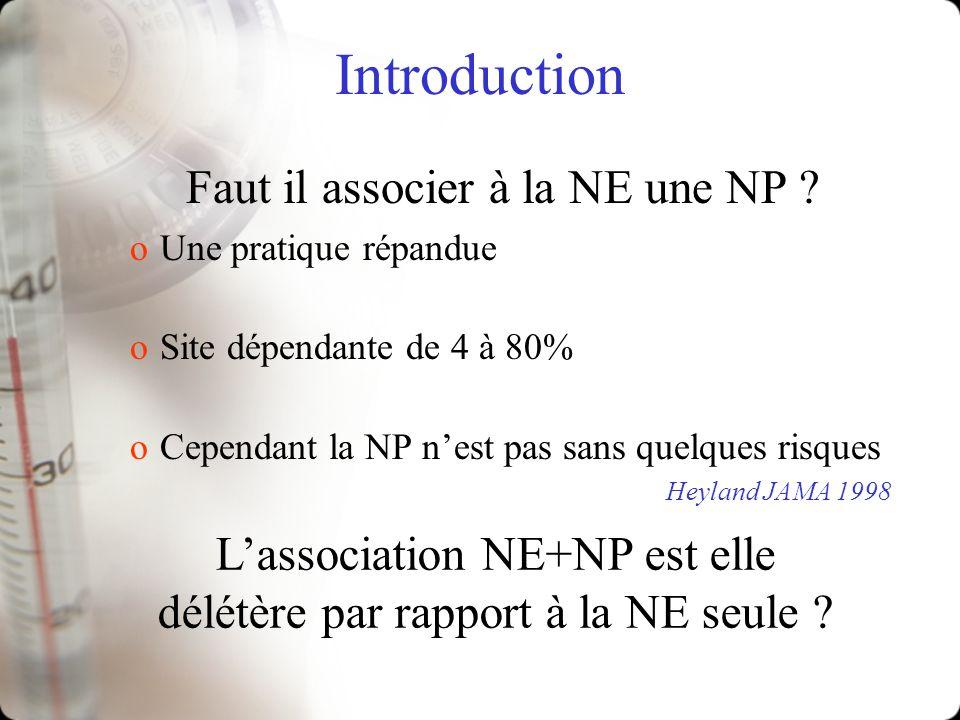 Introduction Faut il associer à la NE une NP ? oUne pratique répandue oSite dépendante de 4 à 80% oCependant la NP nest pas sans quelques risques Heyl