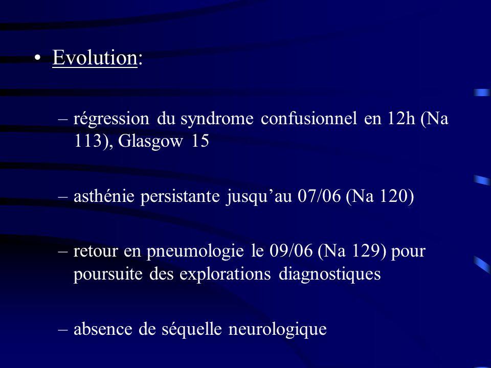 Evolution: –régression du syndrome confusionnel en 12h (Na 113), Glasgow 15 –asthénie persistante jusquau 07/06 (Na 120) –retour en pneumologie le 09/06 (Na 129) pour poursuite des explorations diagnostiques –absence de séquelle neurologique