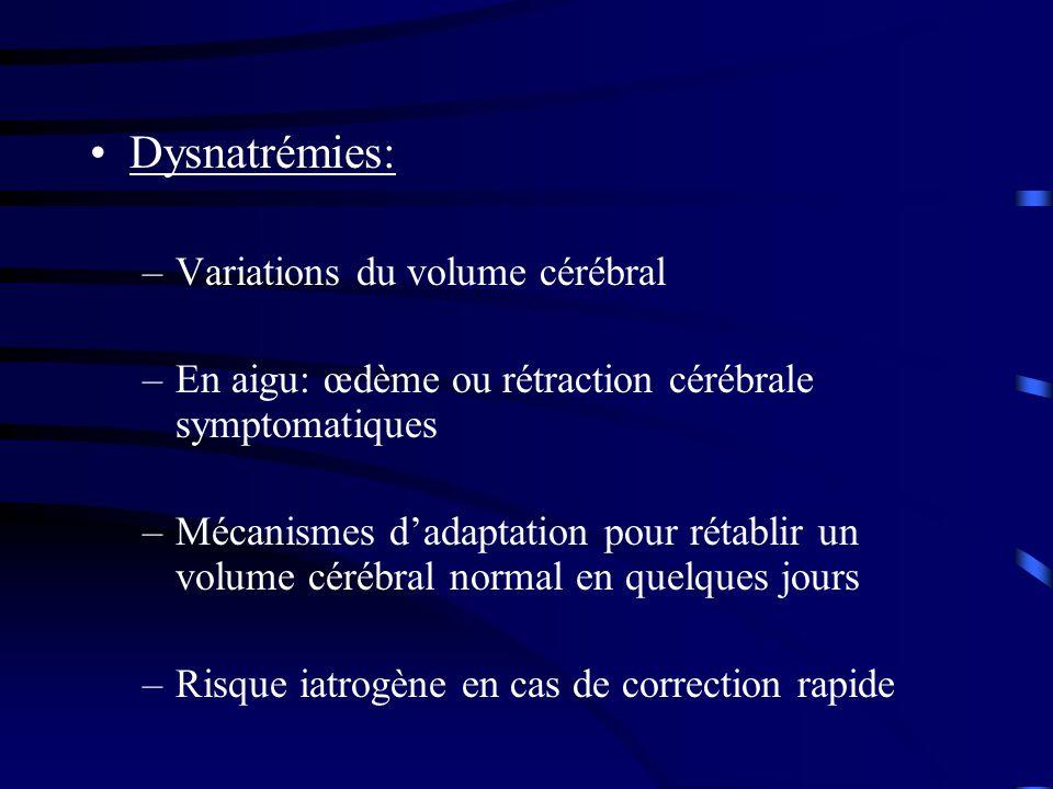 Dysnatrémies: –Variations du volume cérébral –En aigu: œdème ou rétraction cérébrale symptomatiques –Mécanismes dadaptation pour rétablir un volume cérébral normal en quelques jours –Risque iatrogène en cas de correction rapide