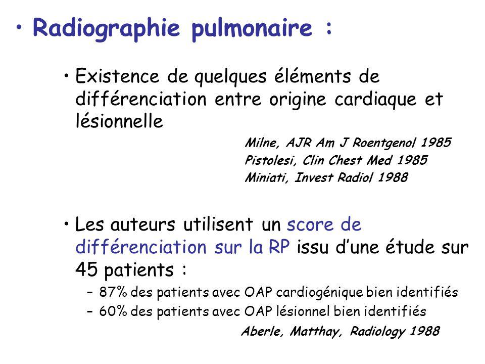Radiographie pulmonaire : Existence de quelques éléments de différenciation entre origine cardiaque et lésionnelle Milne, AJR Am J Roentgenol 1985 Pis
