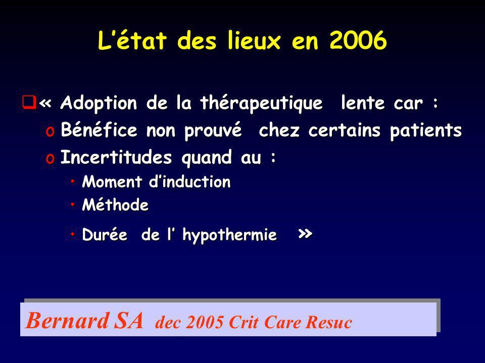 Létat des lieux en 2006 « Adoption de la thérapeutique lente car : « Adoption de la thérapeutique lente car : oBénéfice non prouvé chez certains patie