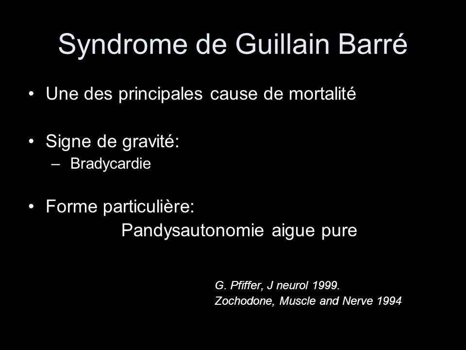 Syndrome de Guillain Barré Une des principales cause de mortalité Signe de gravité: – Bradycardie Forme particulière: Pandysautonomie aigue pure G.