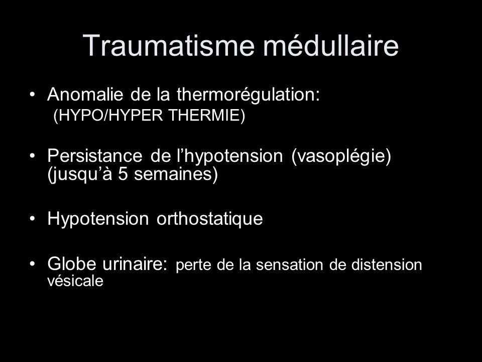 Traumatisme médullaire Anomalie de la thermorégulation: (HYPO/HYPER THERMIE) Persistance de lhypotension (vasoplégie) (jusquà 5 semaines) Hypotension orthostatique Globe urinaire: perte de la sensation de distension vésicale