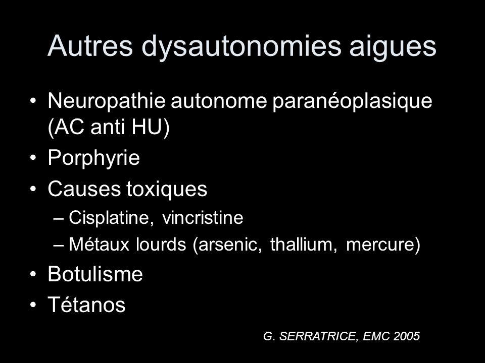 Autres dysautonomies aigues Neuropathie autonome paranéoplasique (AC anti HU) Porphyrie Causes toxiques –Cisplatine, vincristine –Métaux lourds (arsenic, thallium, mercure) Botulisme Tétanos G.