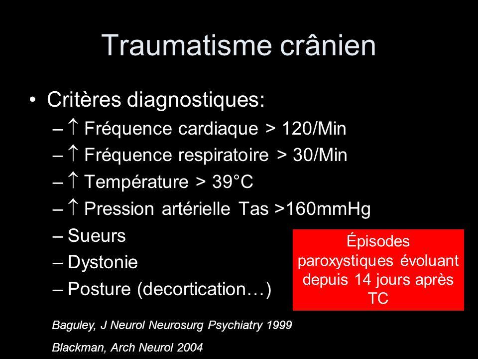 Traumatisme crânien Critères diagnostiques: – Fréquence cardiaque > 120/Min – Fréquence respiratoire > 30/Min – Température > 39°C – Pression artérielle Tas >160mmHg –Sueurs –Dystonie –Posture (decortication…) Épisodes paroxystiques évoluant depuis 14 jours après TC Baguley, J Neurol Neurosurg Psychiatry 1999 Blackman, Arch Neurol 2004