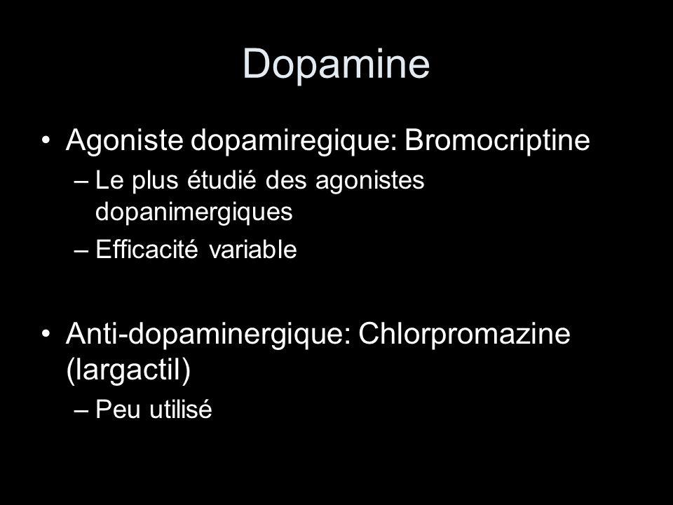 Dopamine Agoniste dopamiregique: Bromocriptine –Le plus étudié des agonistes dopanimergiques –Efficacité variable Anti-dopaminergique: Chlorpromazine (largactil) –Peu utilisé