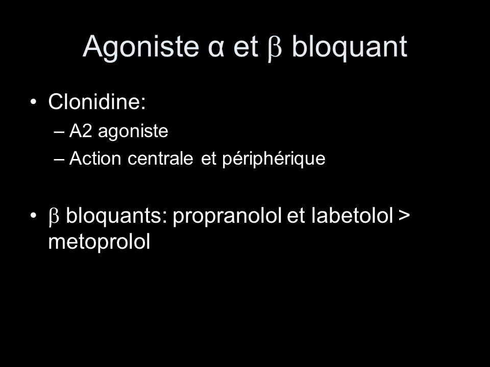 Agoniste α et bloquant Clonidine: –Α2 agoniste –Action centrale et périphérique bloquants: propranolol et labetolol > metoprolol
