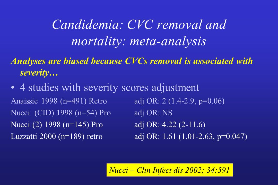 Candidemia: CVC removal and mortality: meta-analysis Analyses are biased because CVCs removal is associated with severity… 4 studies with severity sco