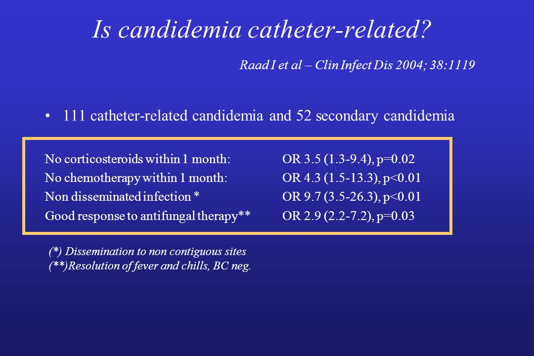 Is candidemia catheter-related.
