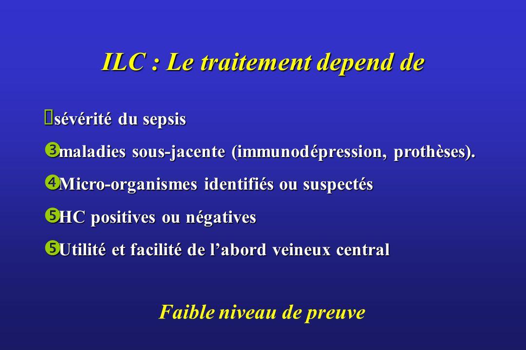 Faible niveau de preuve ILC : Le traitement depend de sévérité du sepsis sévérité du sepsis maladies sous-jacente (immunodépression, prothèses).