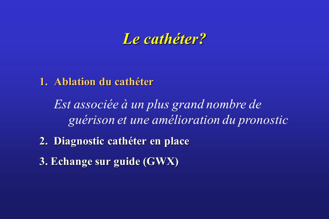 Le cathéter.