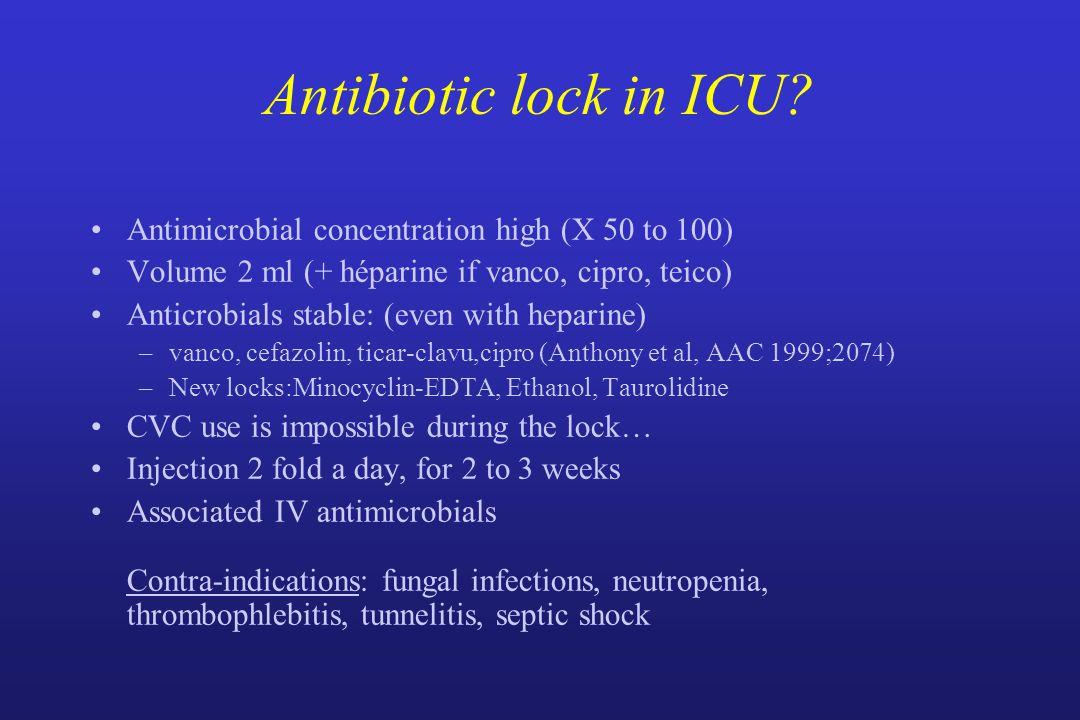 Antibiotic lock in ICU.