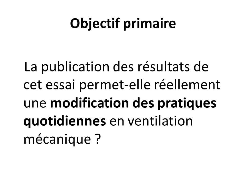 Objectif primaire La publication des résultats de cet essai permet-elle réellement une modification des pratiques quotidiennes en ventilation mécaniqu
