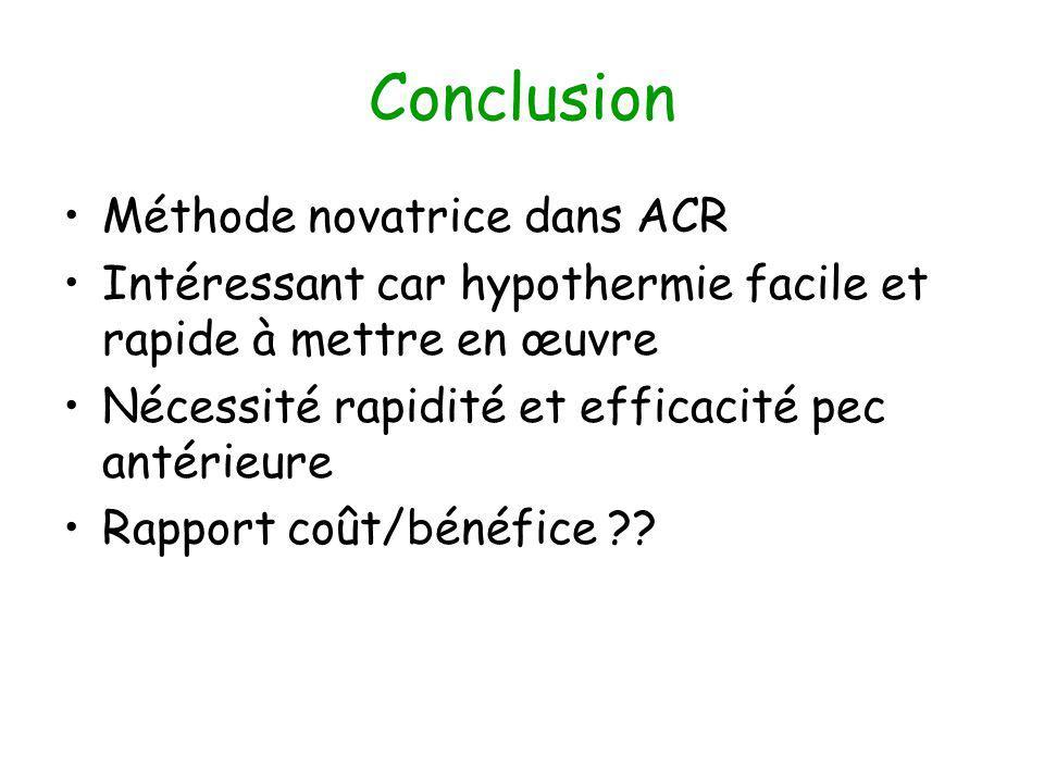 Conclusion Méthode novatrice dans ACR Intéressant car hypothermie facile et rapide à mettre en œuvre Nécessité rapidité et efficacité pec antérieure Rapport coût/bénéfice