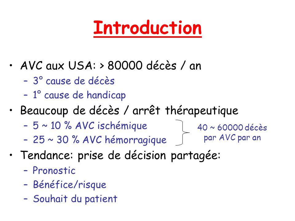 Introduction AVC aux USA: > 80000 décès / an –3° cause de décès –1° cause de handicap Beaucoup de décès / arrêt thérapeutique –5 ~ 10 % AVC ischémique
