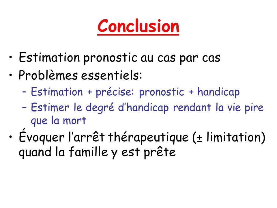 Conclusion Estimation pronostic au cas par cas Problèmes essentiels: –Estimation + précise: pronostic + handicap –Estimer le degré dhandicap rendant l