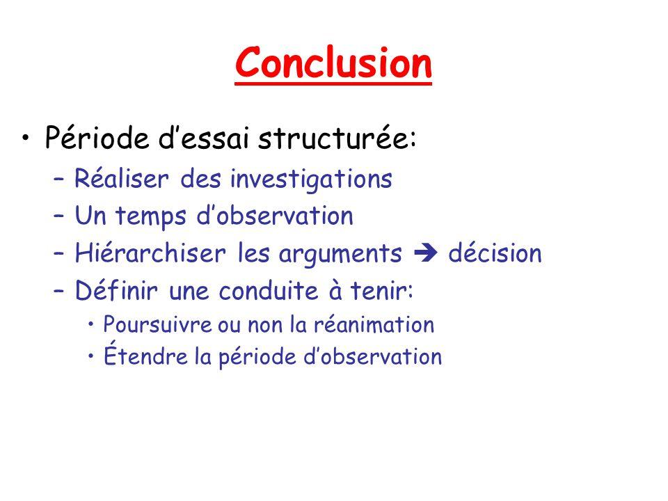Conclusion Période dessai structurée: –Réaliser des investigations –Un temps dobservation –Hiérarchiser les arguments décision –Définir une conduite à