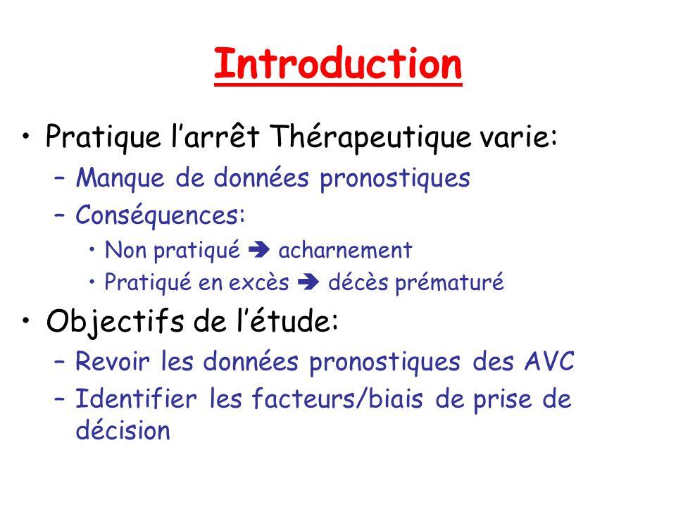 Introduction Pratique larrêt Thérapeutique varie: –Manque de données pronostiques –Conséquences: Non pratiqué acharnement Pratiqué en excès décès prém