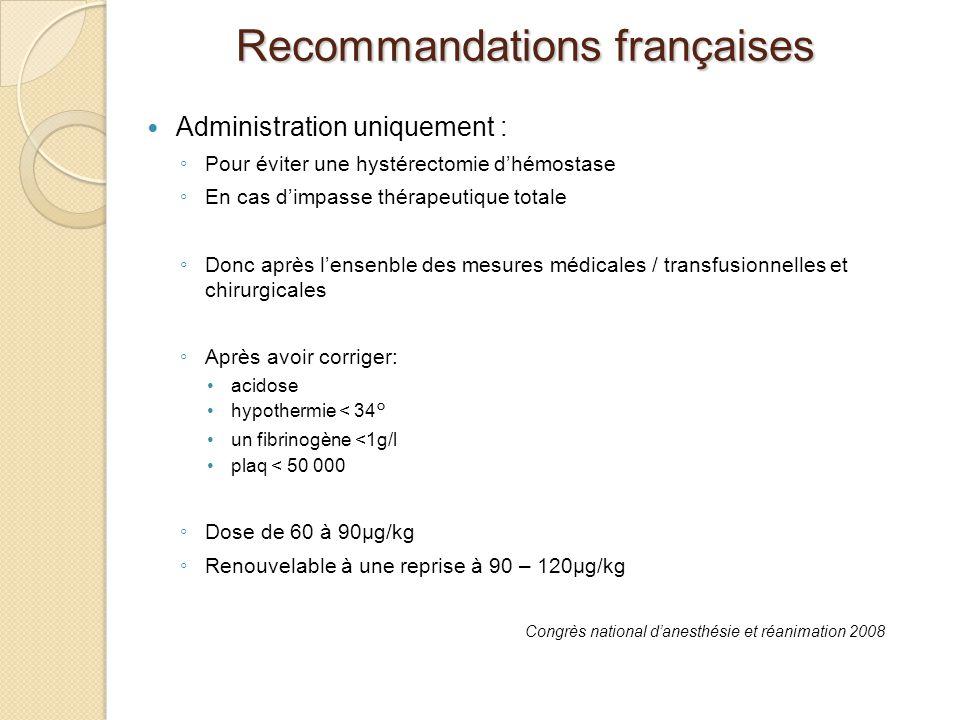 Administration uniquement : Pour éviter une hystérectomie dhémostase En cas dimpasse thérapeutique totale Donc après lensenble des mesures médicales /