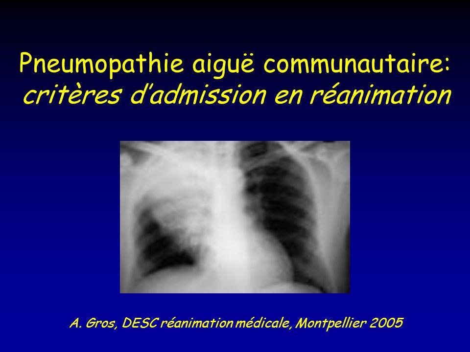 Pneumopathie aiguë communautaire: critères dadmission en réanimation A. Gros, DESC réanimation médicale, Montpellier 2005