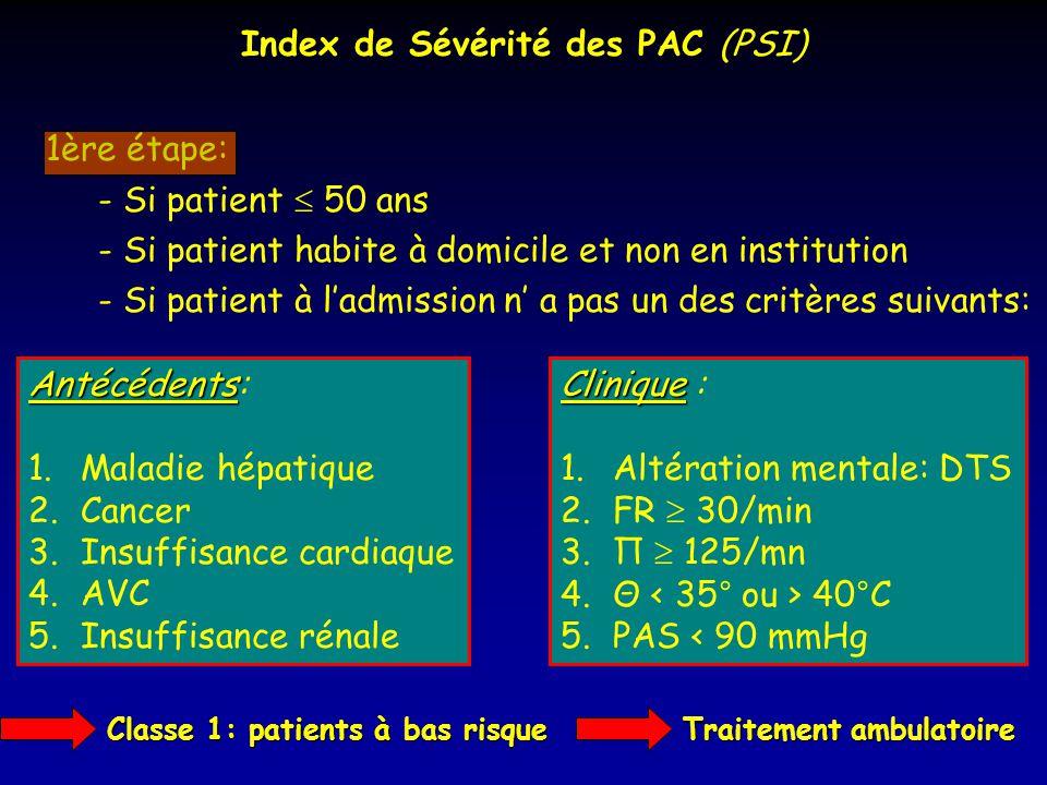 Index de Sévérité des PAC (PSI) 1ère étape: - Si patient 50 ans - Si patient habite à domicile et non en institution - Si patient à ladmission n a pas