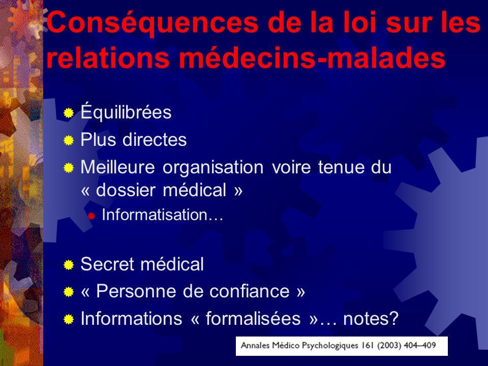 Conséquences de la loi sur les relations médecins-malades Équilibrées Plus directes Meilleure organisation voire tenue du « dossier médical » Informatisation… Secret médical « Personne de confiance » Informations « formalisées »… notes