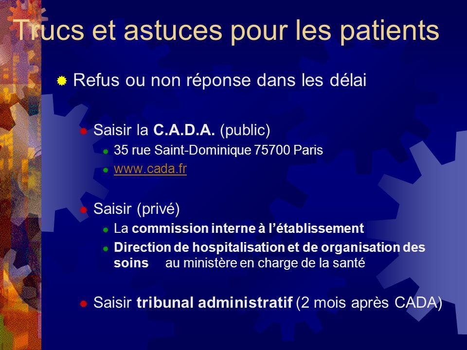 Refus ou non réponse dans les délai Saisir la C.A.D.A.