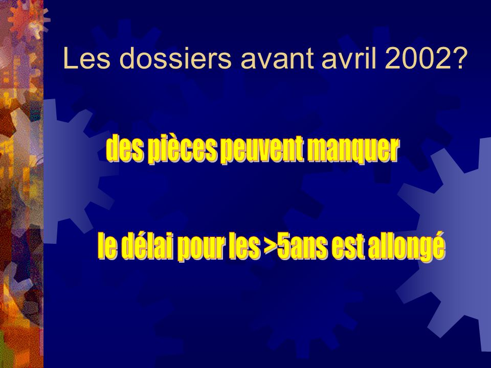 Les dossiers avant avril 2002
