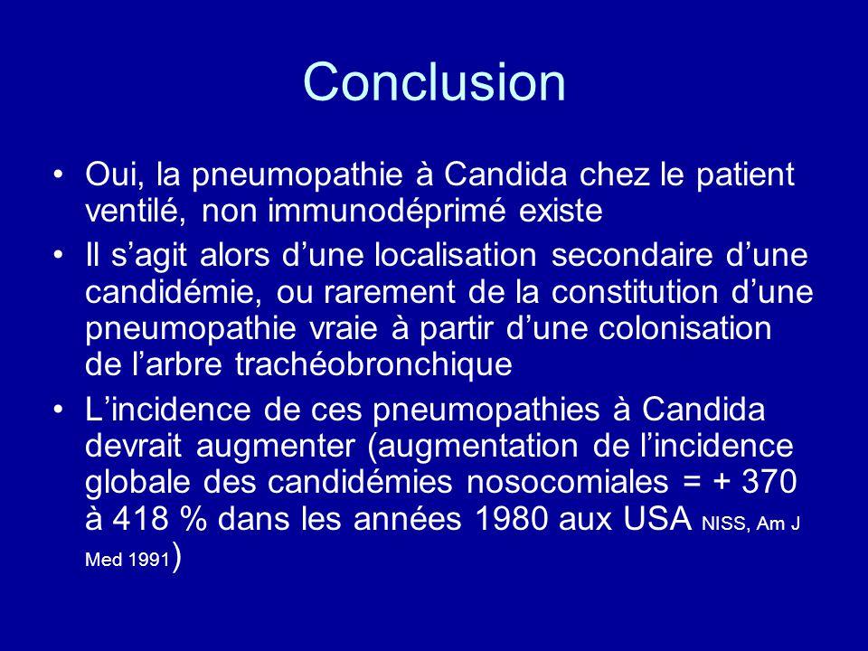 Conclusion Oui, la pneumopathie à Candida chez le patient ventilé, non immunodéprimé existe Il sagit alors dune localisation secondaire dune candidémi