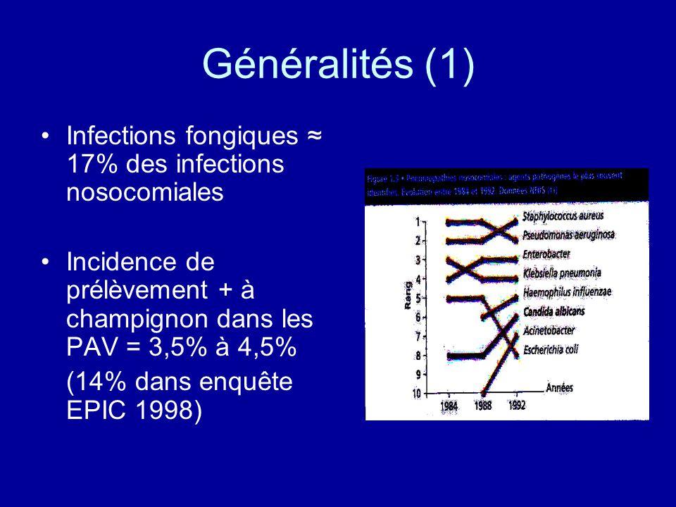 Généralités (1) Infections fongiques 17% des infections nosocomiales Incidence de prélèvement + à champignon dans les PAV = 3,5% à 4,5% (14% dans enqu